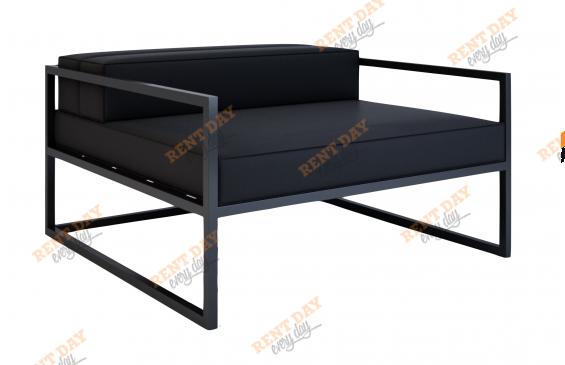 Черный диван на металлокаркасе