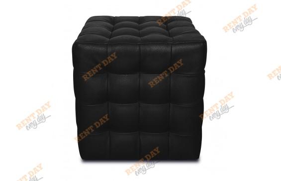 Черный пуфик с квадратной стежкой