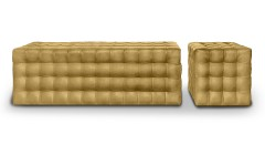 Золотой пуфик с квадратной стежкой