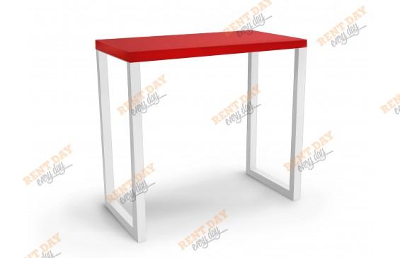 П-образный красно-белый барный стол
