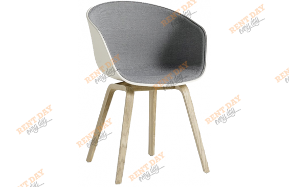 Wood Gray & white / Белое велюровое кресло в аренду