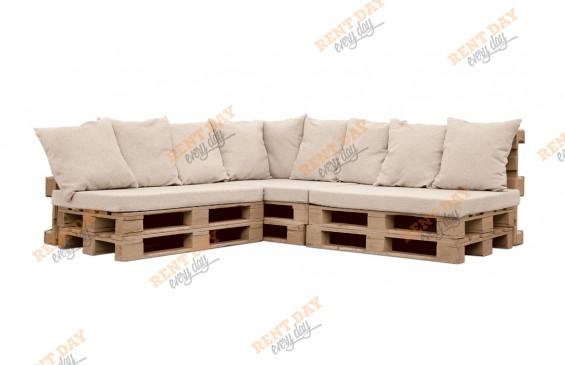 Угловой диван из паллет  в аренду