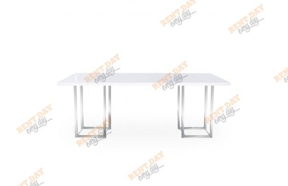 Прямоугольный белый стол в аренду