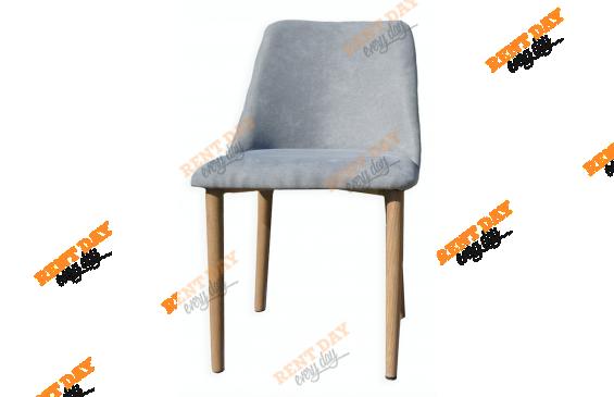 Wood textile gray / Мягкий стул из серой текстильной обивки в аренду