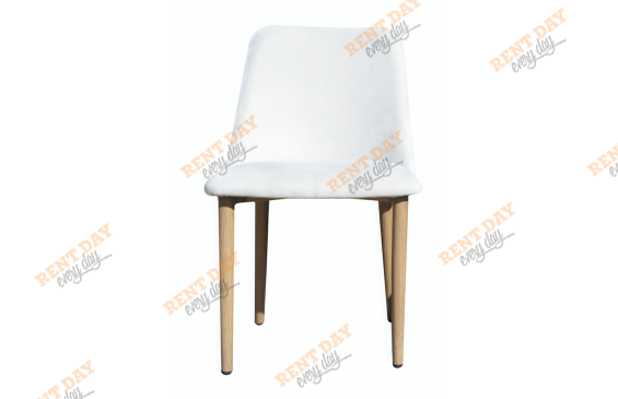 Wood textile white / Мягкий стул из белой текстильной обивки в аренду