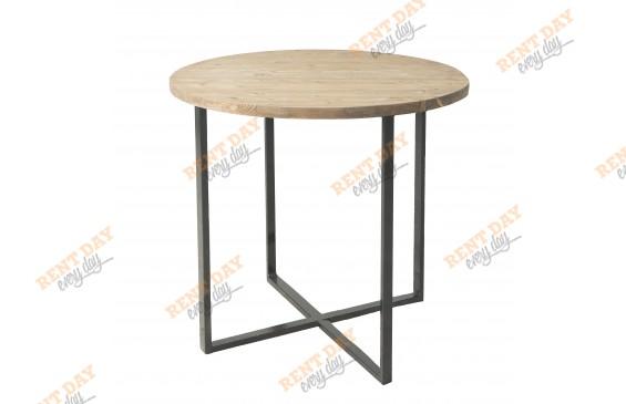 Круглый стол с деревянной столешницей в аренду